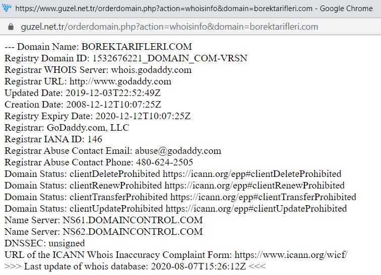 Domain Whois Kontrolü