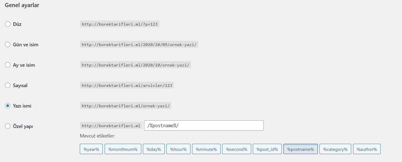 Wordpress Ayarları - 1