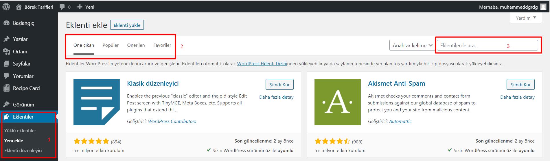 Wordpress Eklenti Kurulumu - 1