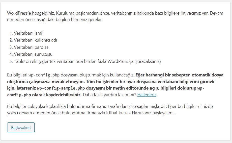 Wordpress Kurulum - 3