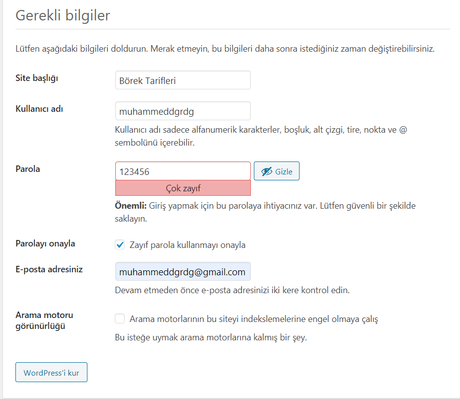 Wordpress Kurulumu - 4