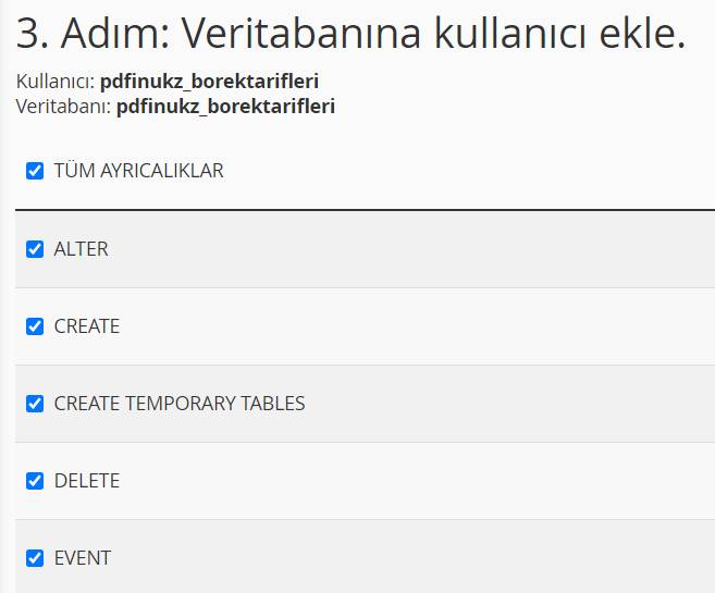 Wordpress Veritabanı Kurulumu - 4