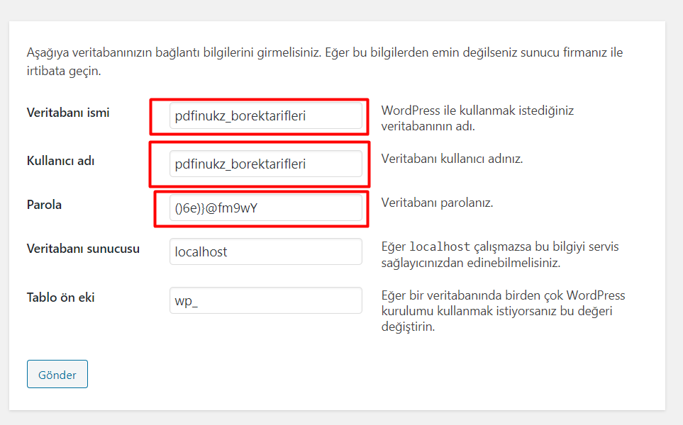 Wordpress Veritabanı Kurulumu - 5